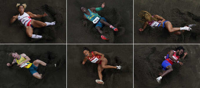 Jumpers, from top left, Jazmin Sawyers, of Britain, Alexsandro Melo, of Brazil, Tara Davis, of United States, Henry Frayne, of Australia, Ana Peleteiro, of Spain, and Maykel Masso, of Cuba, compete at the 2020 Summer Olympics in Tokyo. (AP Photos/Morry Gash)