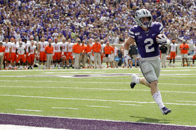 Kansas State running back Harry Trotter (2) runs into the end zone for a touchdown during the first half of an NCAA college football game against Bowling Green Saturday, Sept. 7, 2019, in Manhattan, Kan. (AP Photo/Charlie Riedel)