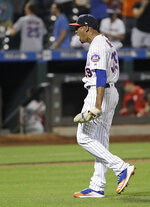 New York Mets relief pitcher Edwin Diaz celebrates after a baseball game against the Philadelphia Phillies, Saturday, July 6, 2019, in New York. (AP Photo/Frank Franklin II)