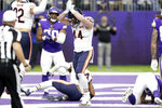 Chicago Bears inside linebacker Nick Kwiatkoski celebrates after a safety during the first half of an NFL football game against the Minnesota Vikings, Sunday, Dec. 29, 2019, in Minneapolis. (AP Photo/Andy Clayton-King)