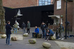 Journalists wait outside the Singer Museum in Laren, Netherlands, Monday March 30, 2020, where a Van Gogh painting was stolen. The Dutch museum that is currently closed to prevent the spread of the coronavirus says a painting by the Dutch master titled