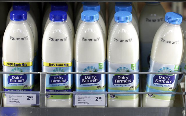 Dairy Farmers brand milk is displayed at a supermarket in Sydney, Tuesday, Aug. 25, 2020. Australia's government announced on Tuesday it proposed to block Kirin Holdings Co.'s 45.6 billion yen ($430 million) sale of its Australian beverage unit to a Chinese company in a development likely to increase strain on Chinese-Australian relations. (AP Photo/Rick Rycroft)
