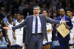 Villanova head coach Jay Wright reacts to a call during the first half of an NCAA college basketball game against DePaul, Tuesday, Jan. 14, 2020, in Villanova, Pa. (AP Photo/Matt Slocum)