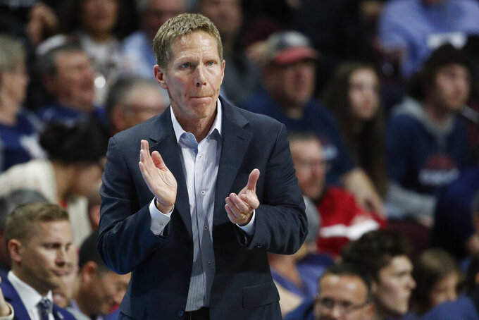 Gonzaga head coach Mark Few motions toward the court in the second half of an NCAA college basketball game against Saint Mary's in the final of the West Coast Conference men's tournament Tuesday, March 10, 2020, in Las Vegas. (AP Photo/John Locher)