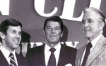 FILE - In this 1976 file photo, Richard Lugar, left, and Edgar Whitcomb, Senate nominee foes, greet Ronald Reagan in Anderson, Ind.  (Greg Griffo/The Indianapolis Star via AP, File)/The Indianapolis Star via AP, File)