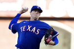 Texas Rangers starting pitcher Kyle Gibson (44) throws against the San Francisco Giants during the first inning of a baseball game in San Francisco, Monday, May 10, 2021. (AP Photo/John Hefti)
