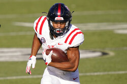 Mississippi running back Jerrion Ealy carries the ball against Vanderbilt in the first half of an NCAA college football game Saturday, Oct. 31, 2020, in Nashville, Tenn. (AP Photo/Mark Humphrey)
