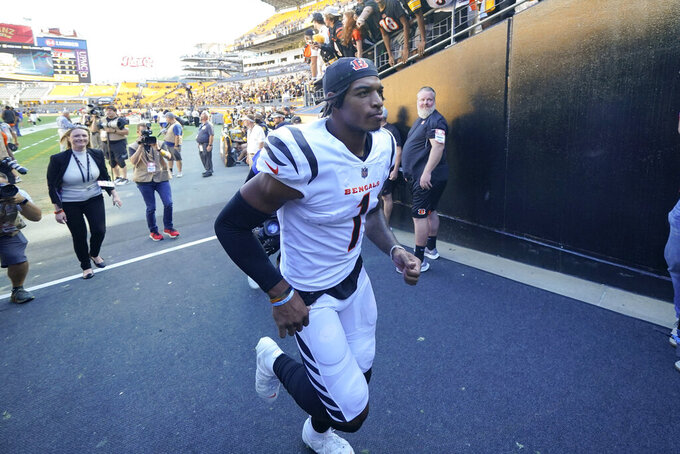 Cincinnati Bengals wide receiver Ja'Marr Chase (1) heads to the locker room after defeating the Pittsburgh Steelers in an NFL football game, Sunday, Sept. 26, 2021, in Pittsburgh. The Bengals won 24-10. (AP Photo/Gene J. Puskar)