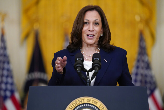 FILE - In this Aug. 10, 2021, file photo, Vice President Kamala Harris speaks from the East Room of the White House in Washington. The Taliban takeover of Afghanistan has given new urgency to Harris's tour of southeast Asia, where she will attempt to reassure allies of American resolve following the chaotic end of a two-decade war. (AP Photo/Evan Vucci, File)