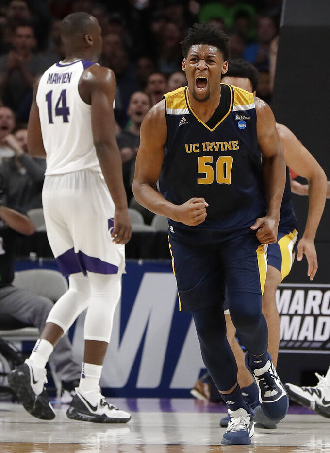 UC Irvine forward Elston Jones (50) reacts after scoring against Kansas State during the first half of a first round men's college basketball game in the NCAA Tournament Friday, March 22, 2019, in San Jose, Calif. (AP Photo/Chris Carlson)