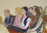 This courtroom sketch shows Emma Cornel Aispuro, second from right, as she listens during the sentencing of her husband, Joaquin Guzman
