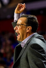 Georgia head coach Tom Crean yells at his team during an NCAA college basketball game against Florida, Saturday, March 2, 2019, in Gainesville, Fla. (Lauren Bacho/The Gainesville Sun via AP)