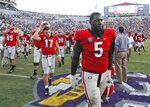 Georgia defensive lineman Julian Rochester (5) walks off the field with his teammates after a 36-16 loss to LSU during an NCAA college football game Saturday, Oct. 13, 2018, in Baton Rouge, La. (Bob Andres/Atlanta Journal Constitution via AP)