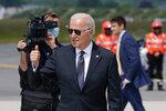 President Joe Biden boards Air Force One at Brussels Airport in Brussels, Tuesday, June 15, 2021. Biden is en route to Geneva. (AP Photo/Patrick Semansky)