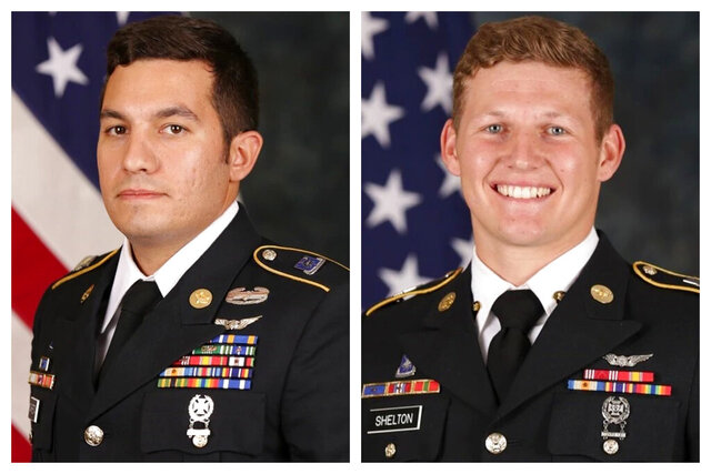 This combination of photos released by the U.S. Army Special Operations Command in August 2020 shows Staff Sgt. Vincent P. Marketta, left, and Sgt. Tyler M. Shelton, both with the 160th Special Operations Aviation Regiment (Airborne). They were killed in a Thursday, Aug. 27, 2020 Black Hawk helicopter crash at San Clemente Island, Calif. (US Army Special Operations Command via AP)