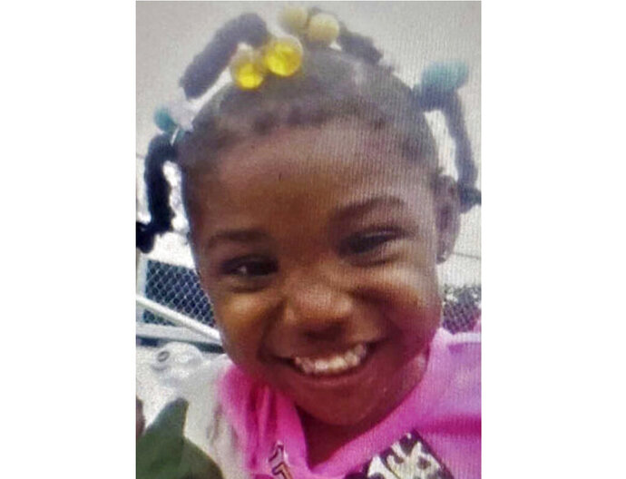 FILE - This undated file photo released by the FBI shows 3-year-old Kamille McKinney, who police say has been missing since she was abducted while attending a birthday party on Saturday, Oct. 12, 2019, in Birmingham, Ala. Investigators searching through garbage found the body of McKinney, who was missing more than a week, and authorities are charging two people with murder, police said Tuesday, Oct. 22. (FBI via AP, File)