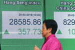 A woman walks past an electronic board showing Hong Kong share index outside a bank in Hong Kong, Wednesday, Feb. 20, 2019. Shares were mostly higher in Asia on Wednesday after a modestly high finish on Wall Street that extended the market's gains into a fourth week.(AP Photo/Kin Cheung)