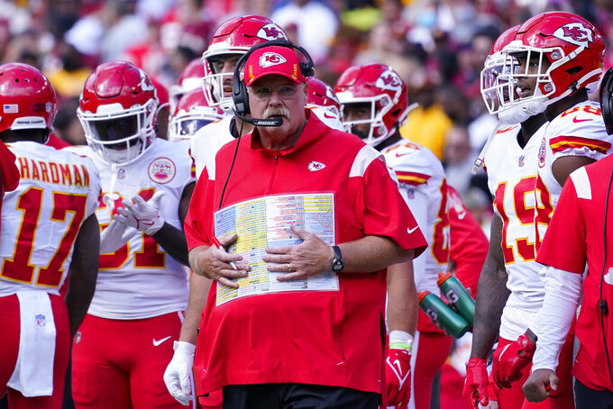 Kansas City Chiefs head coach Andy Reid on the sidelines during the first half of an NFL football game against the Washington Football Team, Sunday, Oct. 17, 2021, in Landover, Md. (AP Photo/Alex Brandon)