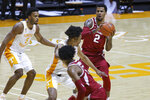 Arkansas forward Vance Jackson (2) looks to pass the ball against Tennessee during an NCAA college basketball game Wednesday, Jan. 6, 2021, in Knoxville, Tenn. (Randy Sartin/USA TODAY Sports via AP, Pool)