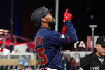 Minnesota Twins' Byron Buxton points skyward after his three-run home run off Toronto Blue Jays pitcher Jose Berrios in the third inning of a baseball game, Friday, Sept. 24, 2021, in Minneapolis. (AP Photo/Jim Mone)