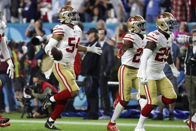 San Francisco 49ers' Fred Warner (54) celebrates after intercepting a pass against the Kansas City Chiefs during the second half of the NFL Super Bowl 54 football game Sunday, Feb. 2, 2020, in Miami Gardens, Fla. (AP Photo/Lynne Sladky)