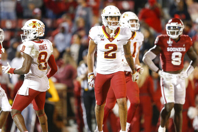 Iowa State Cyclones wide receiver Sean Shaw Jr. (2) smiles after making a touchdown reception during the NCAA football game between the against the Iowa State Cyclones and the Oklahoma Sooners at Gaylord Family-Oklahoma Memorial Stadium in Norman, Okla., on Saturday, Nov. 9, 2019. (Ian Maule/Tulsa World via AP)