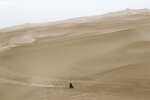 Xavier De Soultrait of France rides his Yamaha motorbike during the first stage of the Dakar Rally between Lima and Pisco, Peru, Monday, Jan. 7, 2019. (AP Photo/Ricardo Mazalan)