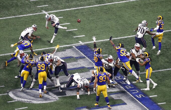 New England Patriots' Stephen Gostkowski (3) kicks a 41-yard field goal against the Los Angeles Rams during the second half of the NFL Super Bowl 53 football game Sunday, Feb. 3, 2019, in Atlanta. The Patriots defeated the Rams 13-3. (AP Photo/Tim Donnelly)