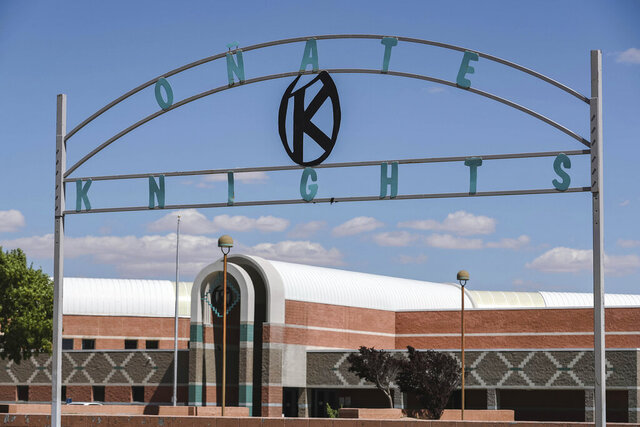 Onate High School is pictured in Las Cruces, New Mexico, on June 17, 2020. The Las Cruces School Board voted Tuesday, July 14, 2020, to drop the name of Don Juan de Onate y Salazar from a high school in southern New Mexico after years of pressure and amid a movement to reexamine the Spanish colonial past in the American Southwest. (Nathan J. Fish/Las Cruces Sun-News via AP)