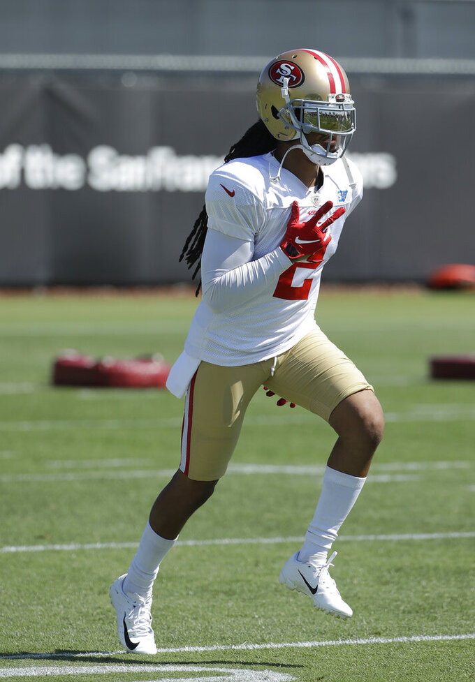 San Francisco 49ers' Jason Verrett jogs at the team's NFL football training camp in Santa Clara, Calif., Monday, July 29, 2019. (AP Photo/Jeff Chiu)