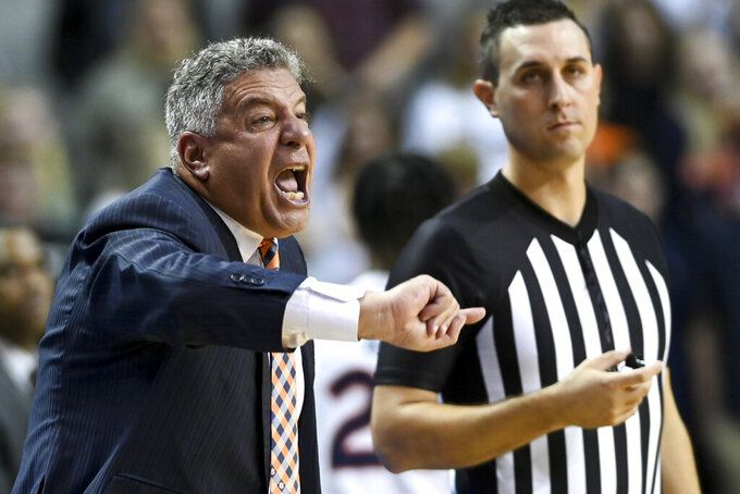 Auburn head coach Bruce Pearl reacts to a foul call during the first half of an NCAA college basketball game against Georgia Southern Tuesday, Nov. 5, 2019, in Auburn, Ala. (AP Photo/Julie Bennett)