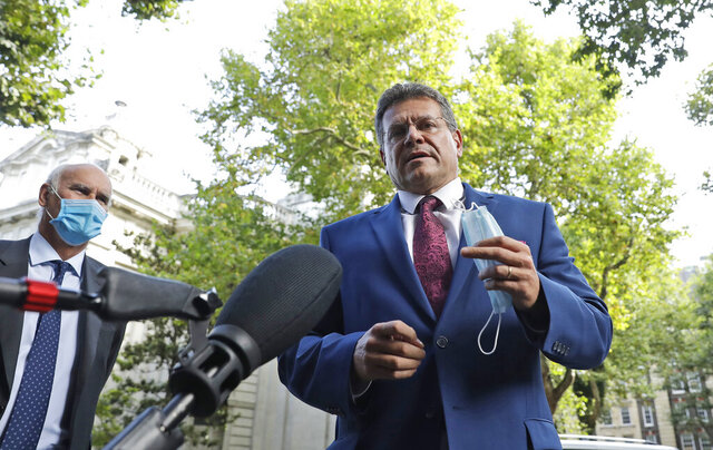 European Commission Vice President Maros Sefcovic addresses the media as he arrives at the Europa house in London, Thursday, Sept. 10, 2020. UK and EU officials have their eighth round of Brexit negotiations in London. (AP Photo/Matt Dunham)