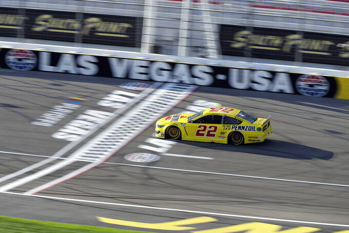 Joey Logano drives during a NASCAR Cup Series auto race Sunday, Sept. 27, 2020, in Las Vegas. (AP Photo/Isaac Brekken)