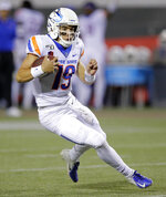 Boise State quarterback Hank Bachmeier runs against UNLV during the first half of an NCAA college football game Saturday, Oct. 5, 2019, in Las Vegas. (AP Photo/John Locher)