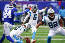 Carolina Panthers kicker Zane Gonzalez (5) kicks a field goal during the first half of an NFL football game against the New York Giants, Sunday, Oct. 24, 2021, in East Rutherford, N.J. (AP Photo/Seth Wenig)
