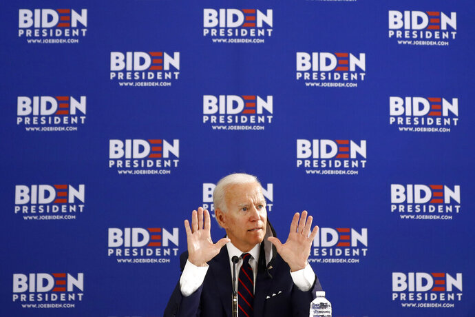 Democratic presidential candidate former Vice President Joe Biden gestures while speaking during a roundtable on economic reopening with community members, Thursday, June 11, 2020, in Philadelphia. (AP Photo/Matt Slocum)