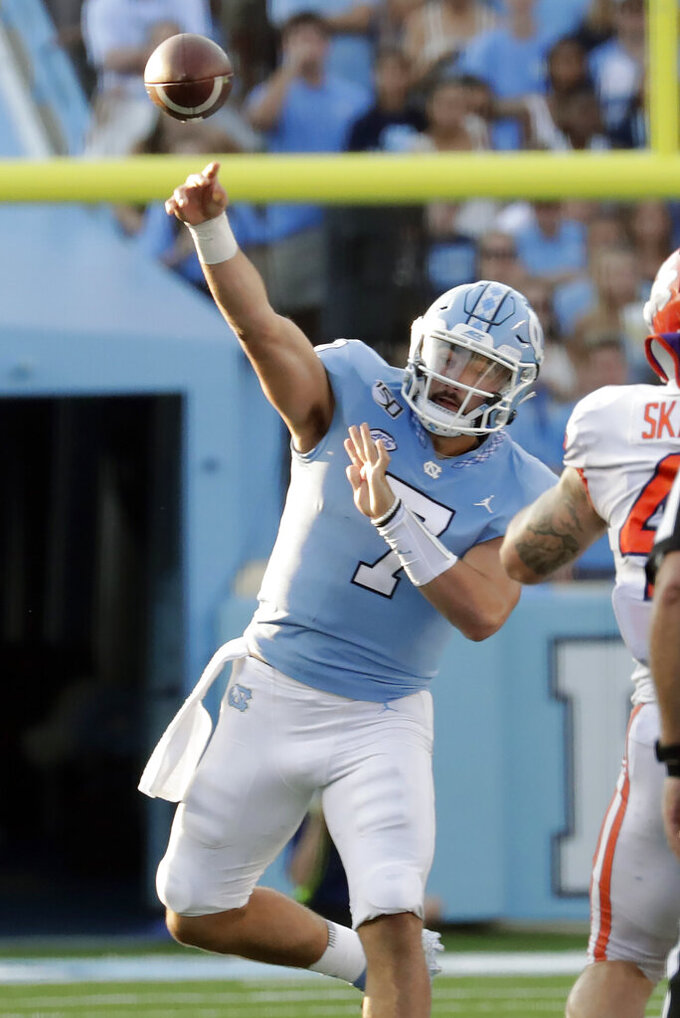 North Carolina's Sam Howell (7) passes during the third quarter of an NCAA college football game against Clemson in Chapel Hill, N.C., Saturday, Sept. 28, 2019. (AP Photo/Chris Seward)