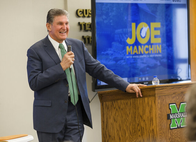 U.S. Sen. Joe Manchin, D-W.Va., speaks during a Town Hall event on Wednesday, Feb. 19, 2020, at the Robert C. Bryd Institute in Huntington, W.Va. (Sholten Singer/The Herald-Dispatch via AP)