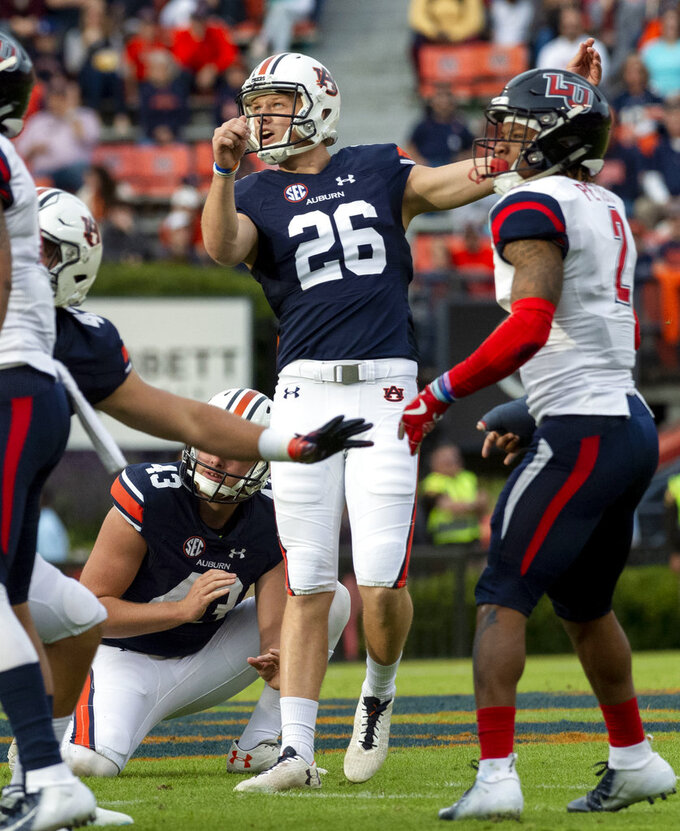 Auburn kicker Anders Carlson (26) kicks a field goal to open scoring during the first half of an NCAA college football game against Liberty, Saturday, Nov. 17, 2018, in Auburn, Ala. (AP Photo/Vasha Hunt)