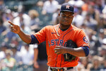 Houston Astros starting pitcher Framber Valdez reacts during the second inning of a baseball game against the Chicago White Sox in Chicago, Sunday, July 18, 2021. (AP Photo/Nam Y. Huh)