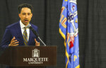 Shaka Smart speaks at Marquette, Monday, March 29, 2021, at the Al McGuire Center in Milwaukee. Smart is the new NCAA college head men's basketball coach at Marquette. (Ebony Cox/Milwaukee Journal-Sentinel via AP)