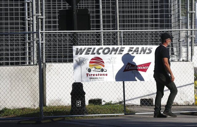 The areas around the track and grandstands are nearly empty at the IndyCar Grand Prix of St. Petersburg, Friday, March 13, 2020 in St. Petersburg. NASCAR and IndyCar have postponed their weekend schedules at Atlanta Motor Speedway and St. Petersburg, due to concerns over the COVID-19 pandemic. (Dirk Shadd/Tampa Bay Times via AP)