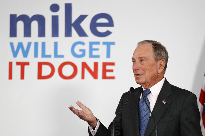 FILE - In this Jan. 27, 2020, file photo, Democratic presidential candidate and former New York City Mayor Michael Bloomberg speaks to supporters at a campaign office, Monday, Jan. 27, 2020, in Scarborough, Maine. (AP Photo/Robert F. Bukaty, File)