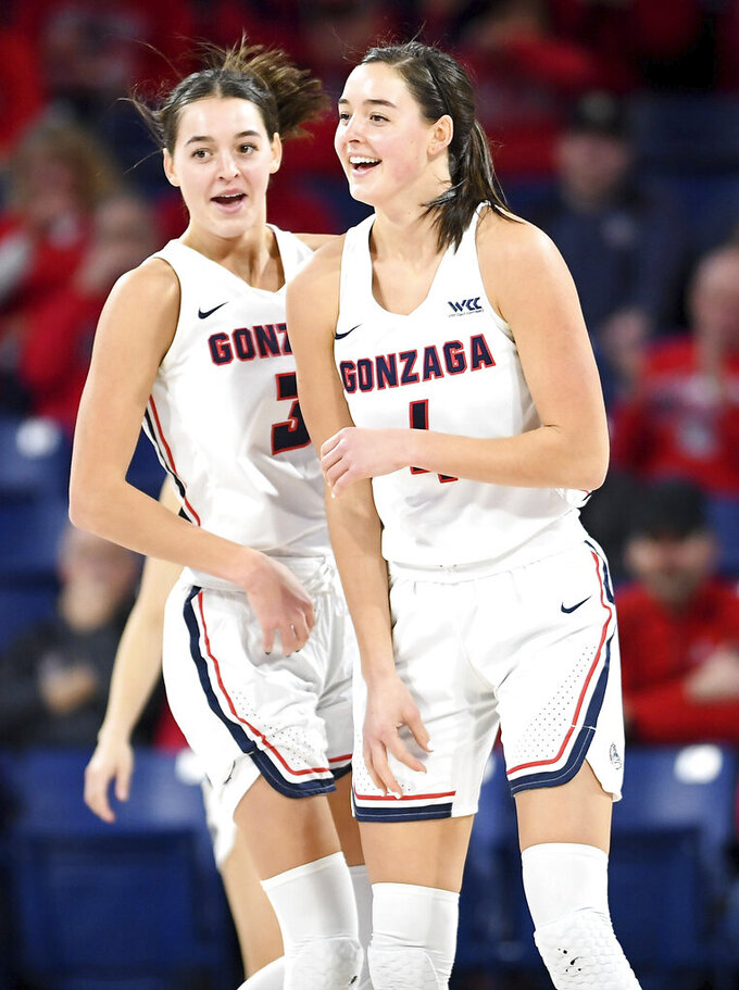 In this Jan. 9, 2020 photo, Gonzaga forwards LeeAnne Wirth (4) and Jenn Wirth (3), twin sisters, laugh between during the first half of an NCAA college basketball game in Spokane, Wash. (Tyler Tjomsland/The Spokesman-Review via AP)