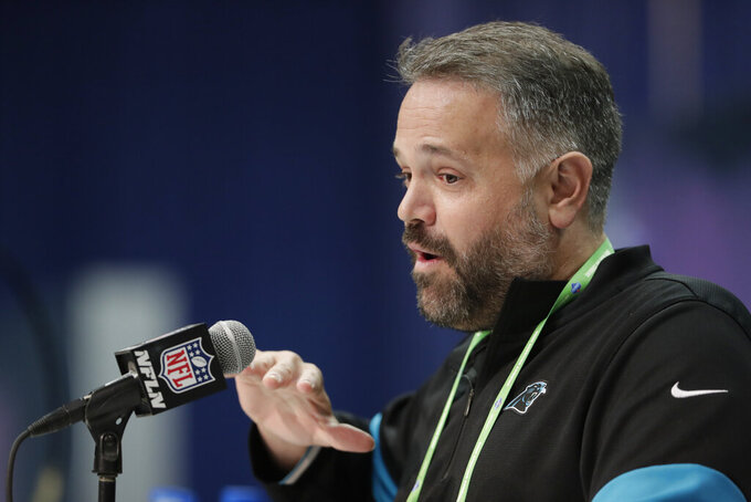 Carolina Panthers head coach Matt Rhule speaks during a press conference at the NFL football scouting combine in Indianapolis, Tuesday, Feb. 25, 2020. (AP Photo/Michael Conroy)