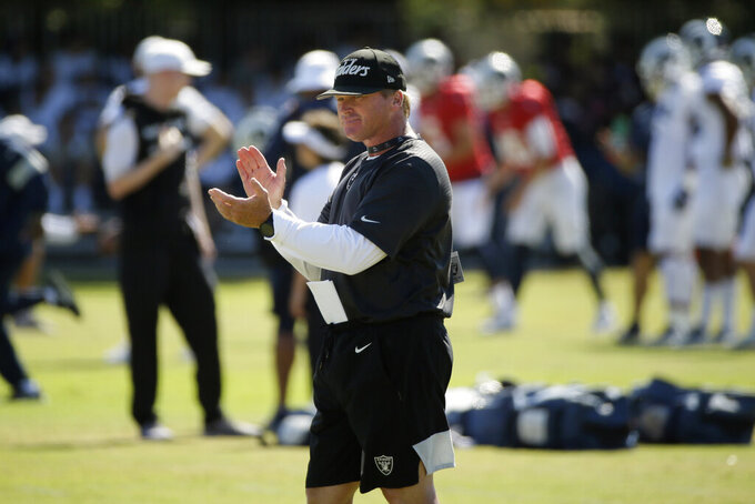 FILE - In this Aug. 8, 2019, file photo, Raiders head coach Jon Gruden claps during a combined  NFL football training camp with the Rams, in Napa, Calif. Commissioner Roger Goodell told the 32 NFL clubs on Thursday, June 4, 2020, that coaching staffs are allowed to return to team facilities starting Friday. (AP Photo/Eric Risberg, File)
