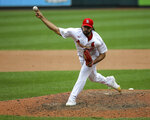 St. Louis Cardinals relief pitcher Nabil Crismatt throws during the seventh inning in the first game of a baseball doubleheader against the Detroit Tigers, Thursday, Sept. 10, 2020, in St. Louis. (AP Photo/Scott Kane)