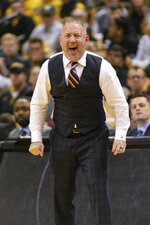 Texas A&M head coach Buzz Williams calls a play during the second half of an NCAA college basketball game against Missouri Tuesday, Jan. 21, 2020, in Columbia, Mo. Texas A&M won the game 66-64. (AP Photo/L.G. Patterson)