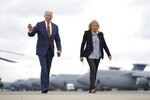 President Joe Biden and first lady Jill Biden arrive to board Air Force One at Dover Air Force Base, Del., Friday, June 4, 2021, to travel to Washington. Biden returns to the White House after spending a few days in Rehoboth Beach to celebrate first lady Jill Biden's 70th birthday. (AP Photo/Andrew Harnik)