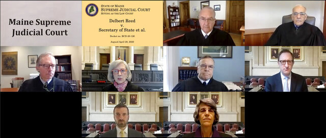 In this image made from a teleconferencing video provided by the Maine Supreme Judicial Court, its members hear the first arguments Tuesday, April 28, 2020, in a lawsuit over the validity of petitions for a referendum on a hydropower transmission project. Seen in top row, from left, are Justices Thomas Humphrey and Joseph Jabar; middle row, Justices Jeffrey Hjelm, Ellen Gorman, Andrew Horton and attorney Nolan Reichl; bottom row, attorney David Kallin and Assistant Attorney General Phyllis Gardiner. (Maine Supreme Judicial Court via AP)